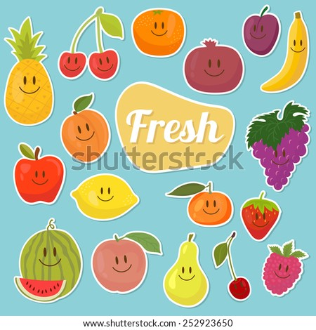Set of  fruits stickers. Cartoon fruits. Fresh and juicy. Vector illustration