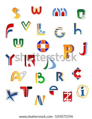 Set of full alphabet letters in different design, such logo. Jpeg version also available in gallery Stock fotó ©