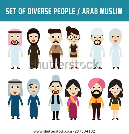 Set of full body diverse business people. Different nationalities and dress styles. isolated on white background. people character cartoon concept. flat modern design. Asian,Arab,Muslim, Islam,India,