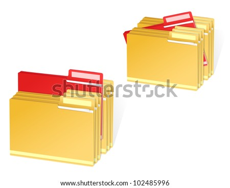 set of full folders with selected red item - stock vector