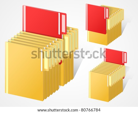 set of full folders with selected red item. EPS10.
