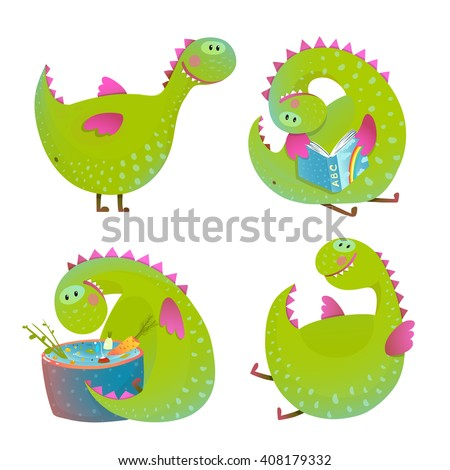 set of fun cartoon dragons