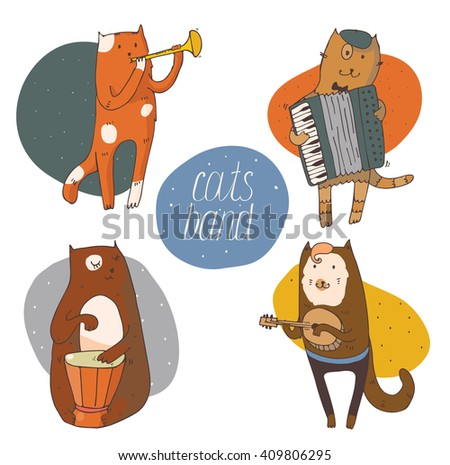 set of fun cats playing musical