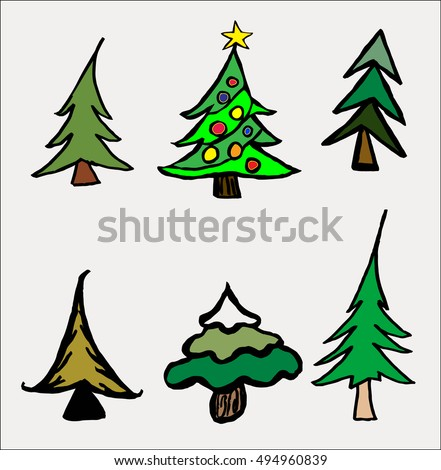 set of 6 fun   cheery trees