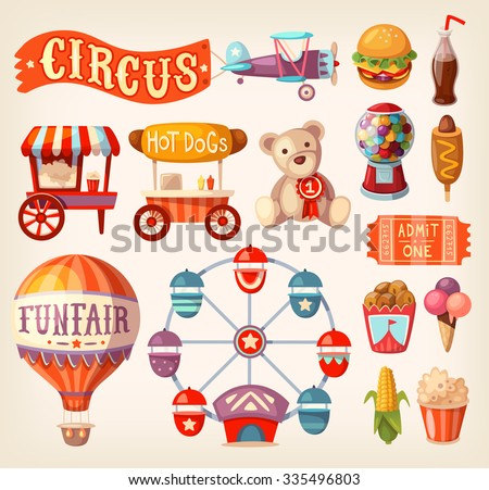 Set of fun fair and traveling circus icons and elements.