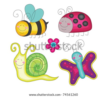 set of fun insects. vector illustration
