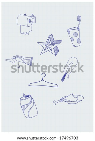 Set of funky hand-drawn elements of modern urban life. Vector illustration - stock vector