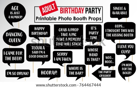 Set of Funny Adult Birthday Party photobooth Props vector elements.