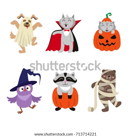 Set of funny animal characters dressed in Halloween costumes, flat cartoon vector illustration isolated on white background. Set of animal characters in ghost, witch, mummy, vampire Halloween outfit