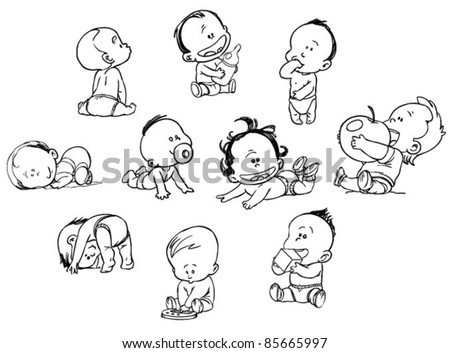 set of funny babies on a white