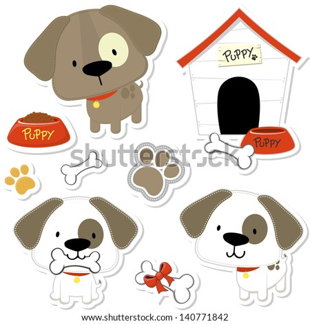 set of funny baby dogs and puppy elements like stickers useful for many applications your designs or scrapbooking projects