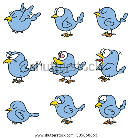 set of funny birds isolated on