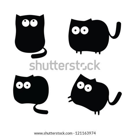 set of funny black cats