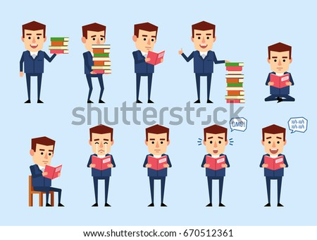 Set of funny businessman posing with books in diverse situations. Cheerful businessman reading a book, sitting, surprised, crying and showing other actions. Simple vector illustration