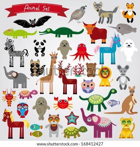 Set of funny cartoon animals character on a white background zoo vector