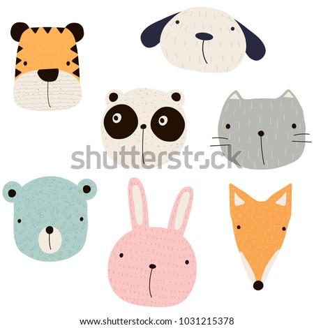 Stock Photo Set of funny cartoon animals. Vector hand drawn illustration.