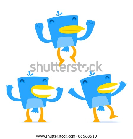 set of funny cartoon blue bird in various poses