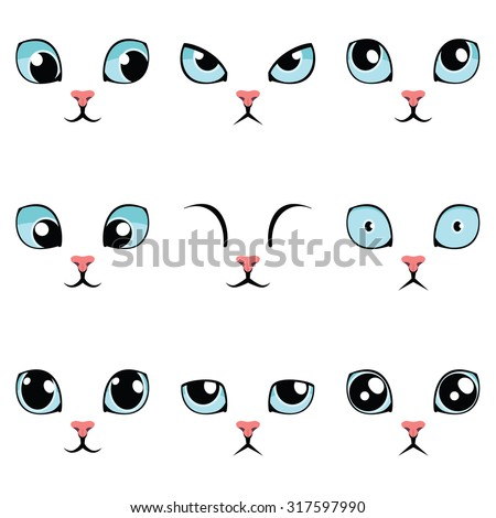 Set of funny cartoon blue cat eyes isolated on white. Vector illustration.