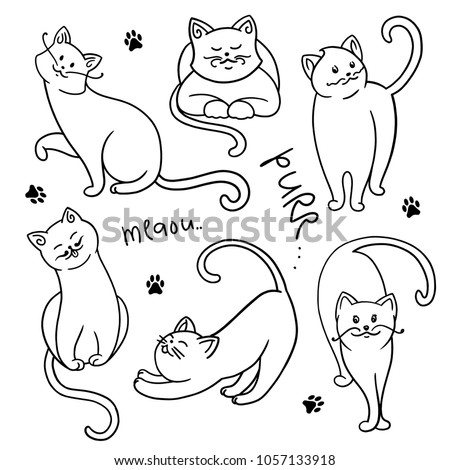 set of funny cartoon cats. Clipart. hands painted kittens. Vector illustration