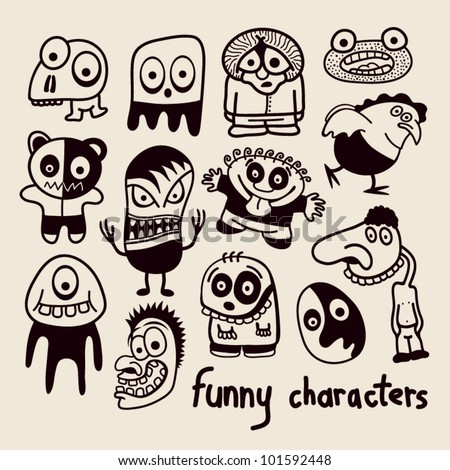 Set of funny cartoon characters.