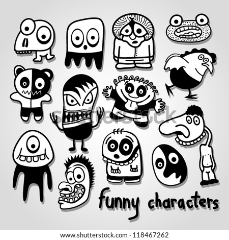 Set of funny cartoon characters.