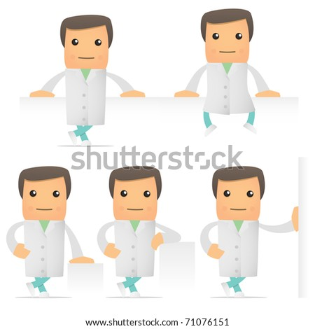 set of funny cartoon doctor in various poses for use in presentations, etc.