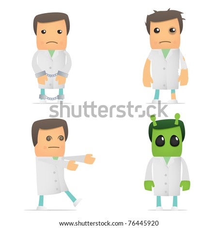 set of funny cartoon doctor in various poses for use in presentations, etc. - stock vector