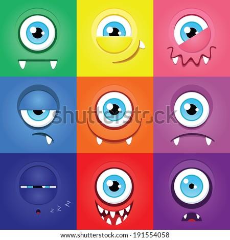 set of funny cartoon expression