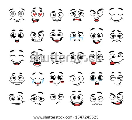 Set of funny cartoon faces. Caricature comic emotions. Doodle style. Isolated vector illustration
