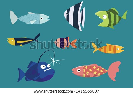 Set of funny cartoon fishes