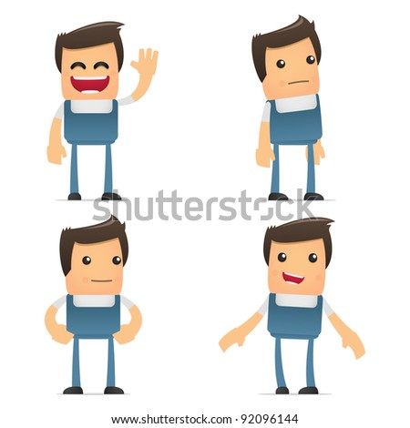 set of funny cartoon mechanic in various poses for use in presentations, etc.