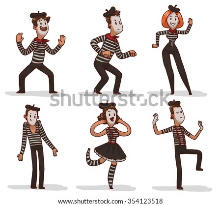 set of funny cartoon mimes
