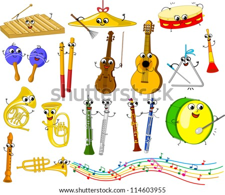 Set of funny cartoon musical instruments