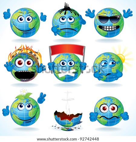 set of funny cartoon planet