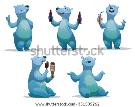 set of funny cartoon polar bear