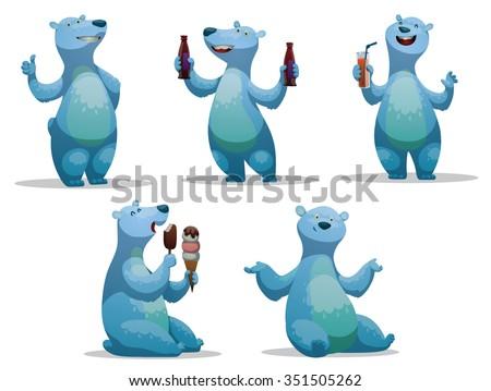 set of funny cartoon polar bear