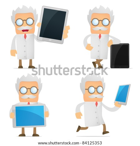 set of funny cartoon scientist in various poses for use in presentations, etc.