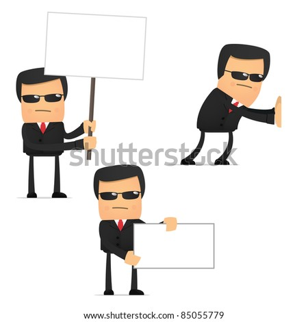 set of funny cartoon security in various poses for use in presentations, etc.