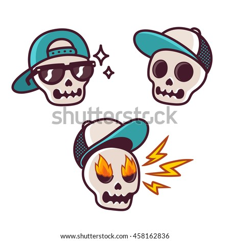 Set of funny cartoon skull character in baseball cap. Cool skull with sunglasses and angry with flame in eyes. Sticker collection.