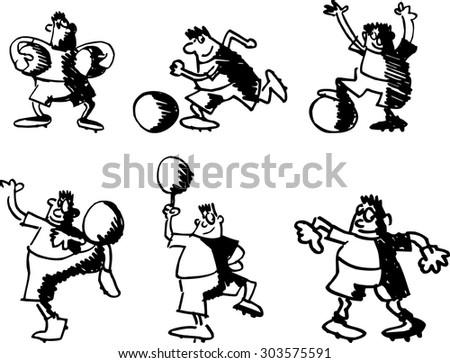 set of funny cartoon soccer