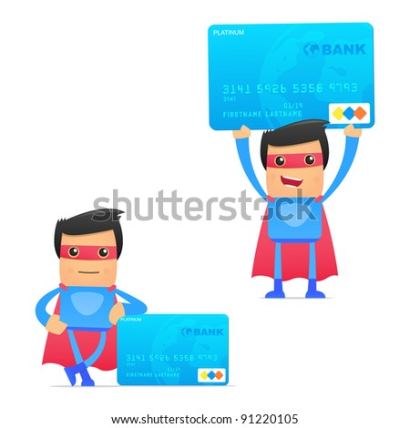 set of funny cartoon superhero in various poses for use in presentations, etc.