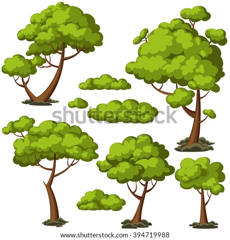 set of funny cartoon trees and