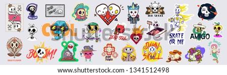 Set of funny cartoon varied skull stickers.