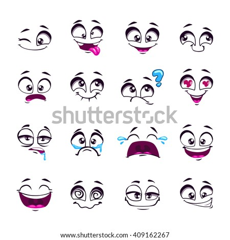 Set of funny cartoon vector comic faces, different emotions, isolated on white, design elements, different feelings avatars #409162267
