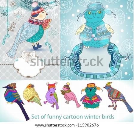 Set of funny cartoon winter birds, illustration, vector