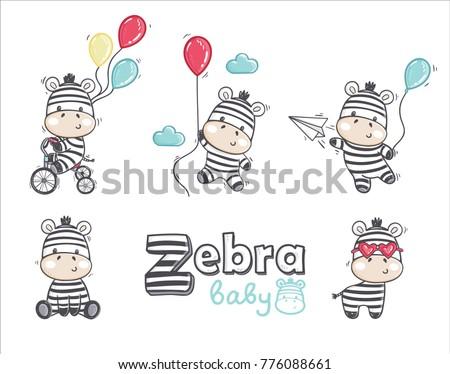 set of funny cartoon zebras on