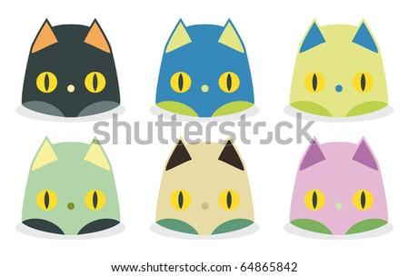 set of funny cat heads kawaii style