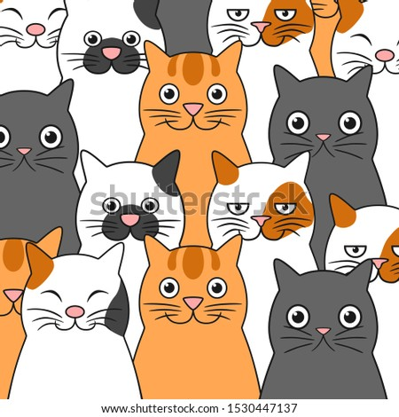 Set of funny cats. Funny cats background