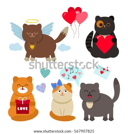 set of funny cats valentine's