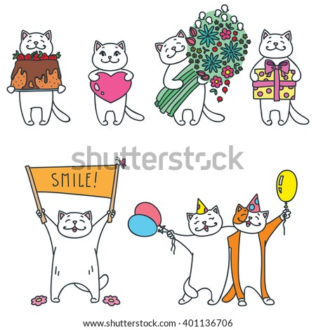 set of funny cats with gifts